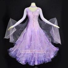 Standard Ballroom Dresses Adult High Quality Waltz Tango Flamenco Dance Costume Lilac Ballroom Competition Dancing Dress