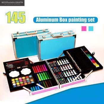 145in1 لون الطباشير المائية مجموعة للأطفال الفن مجموعة للأطفال جودة الأطفال اللوازم المدرسية الفنان صندوق رصاص ثابتة