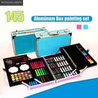 145in1 Crayons de couleur aquarelle ensemble pour enfants Art ensemble pour enfants qualité enfants fournitures scolaires artiste crayon boîte stationnaire