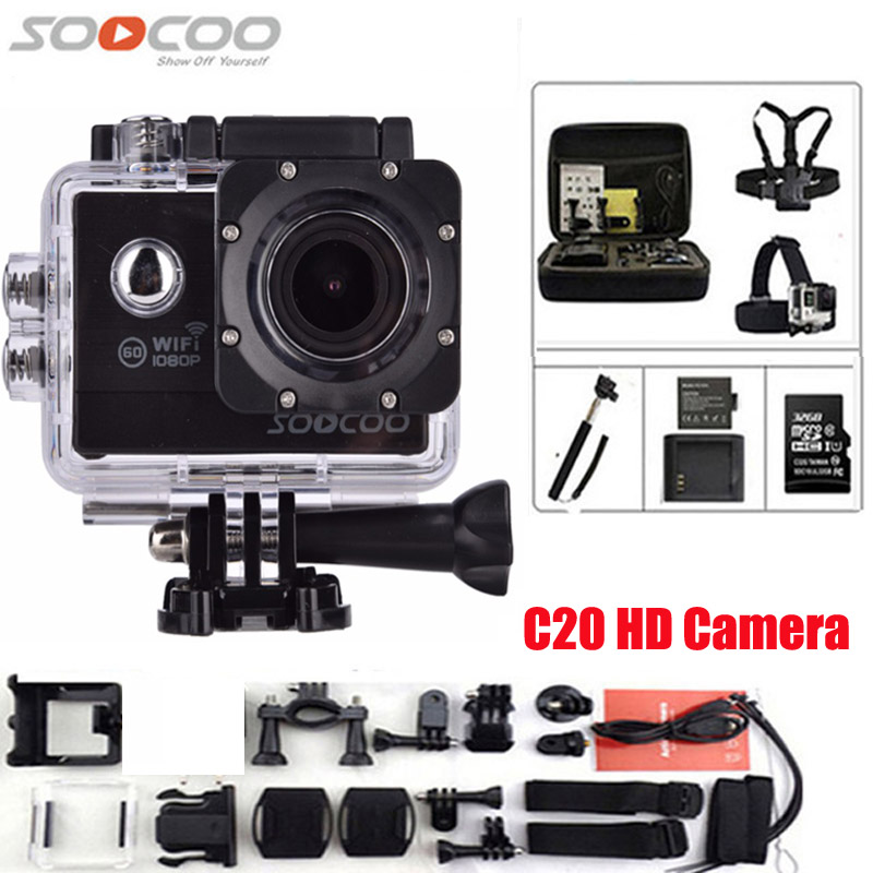 SOOCOO C20 Action Camera Full HD DV 12MP 1080P 60fps Waterproof Sport Cam WIFI 170 Wide Angle Outdoor Sport Camera wimius 20m wifi action camera 4k sport helmet cam full hd 1080p 60fps go waterproof 30m pro gyro stabilization av out fpv camera