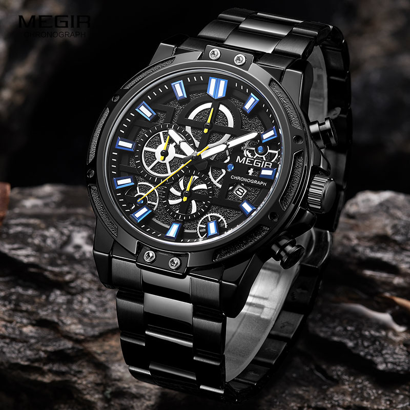 MEGIR 2019 Men's Business Quartz Watches Army Sports Chronograph Wristwatch Man Top Brand Luxury Relogios Masculinos 2108 Black