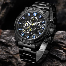 MEGIR 2019 Mens Business Quartz Watches Army Sports Chronograph Wristwatch Man Top Brand Luxury Relogios Masculinos 2108 Black