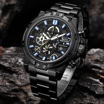 MEGIR 2019 herren Business Quarz Uhren Armee Sport Chronograph Armbanduhr Mann Top Marke Luxus Relogios Masculinos 2108 Schwarz