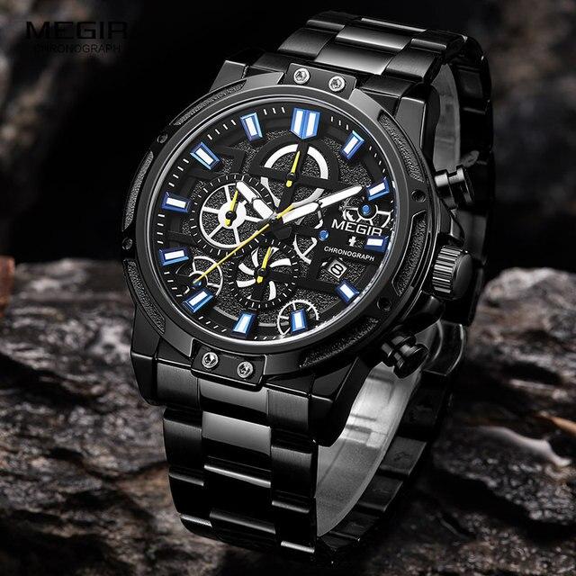 Megir 2019 Mannen Business Quartz Horloges Leger Sport Chronograph Horloge Man Top Merk Luxe Relogios Masculinos 2108 Zwart