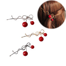 M MISM Cherry Bowknot Alloy Hairpins Women Twisted Wave Bang Hair Clips Clamps Sweet Cute Beads Ponytail Holder Hair Accessories(China)