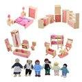 Деревянная Кукла Мебель Для Ванной Комнаты Двухъярусная Кровать Дом Миниатюрные Детские Куклы Кукольный Дом Аксессуары для Детей Играть