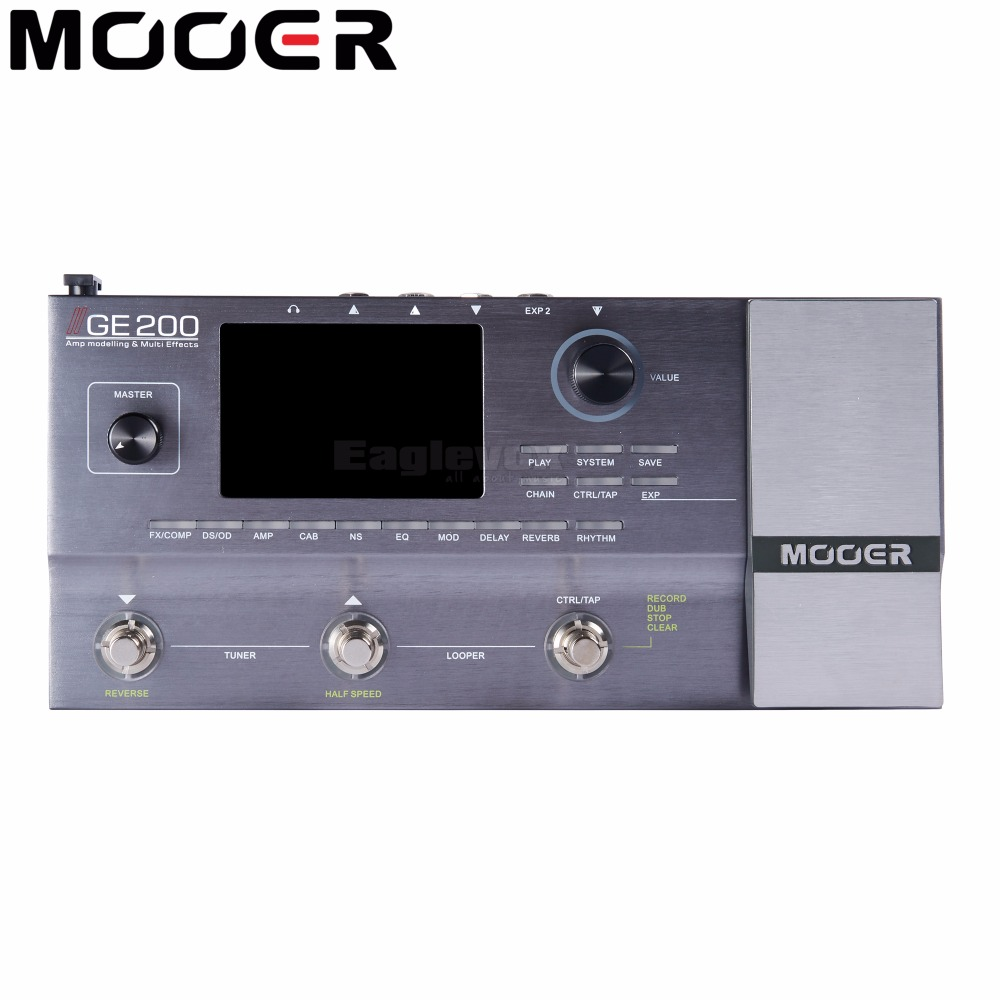 Mooer GE200 Multi Effects Processor 40 Drum Patterns 55 AMP Models 52 Second Looper 70 Effects Electric Guitar Effect Pedal