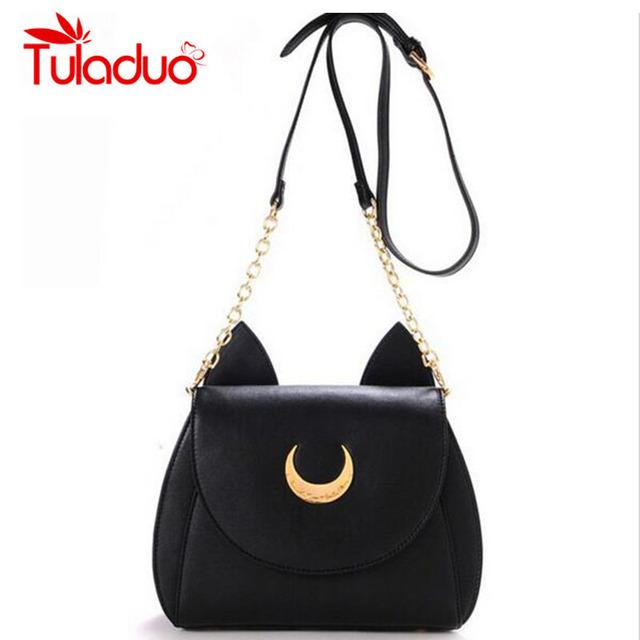 New Summer Limited Sailor Moon Chain Shoulder Bag Ladies Luna Cat PU Leather Handbag Women Messenger Crossbody Small Bag