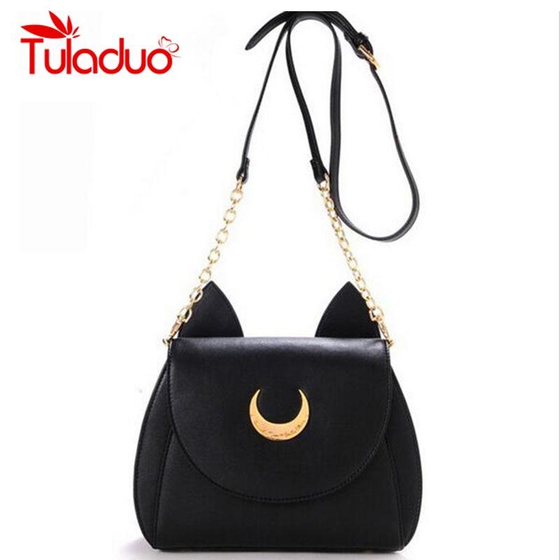 2019 New Summer Limited Sailor Moon Chain Shoulder Bag Ladies Luna Cat PU Leather Handbag Women Messenger Crossbody Small Bag