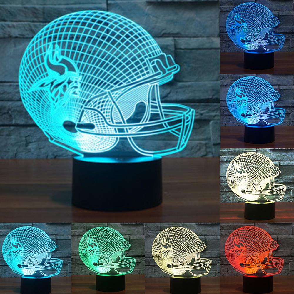 NFL Team Logo 3D Light LED Minnesota Vikings Football Helmet 7 Color LED Night Light USB