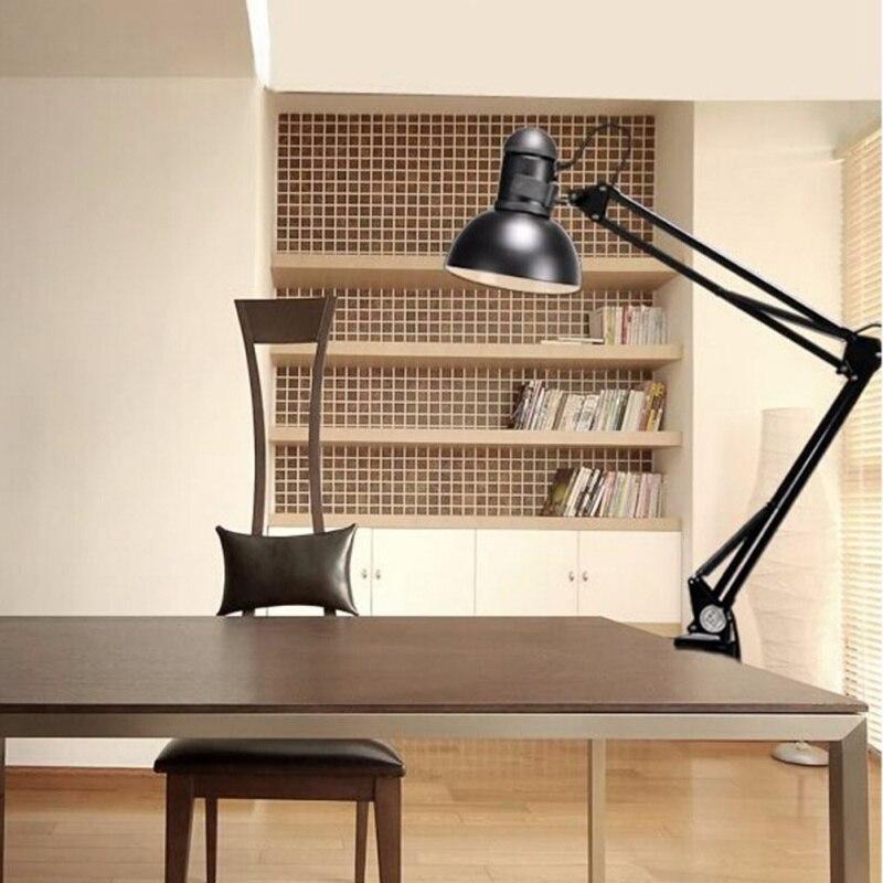 ФОТО  E27 110V 220V Foldable Long-Arm Desk Lamp Iron Morden Reading Lamps Led Table Clip Study Office Lamp