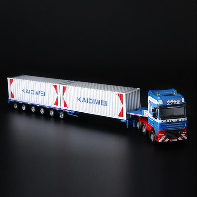 Classic 37*7CM container car alloy Engineering vehicles transport Flatbed truck Model car Diecast Toys For Collection Gift