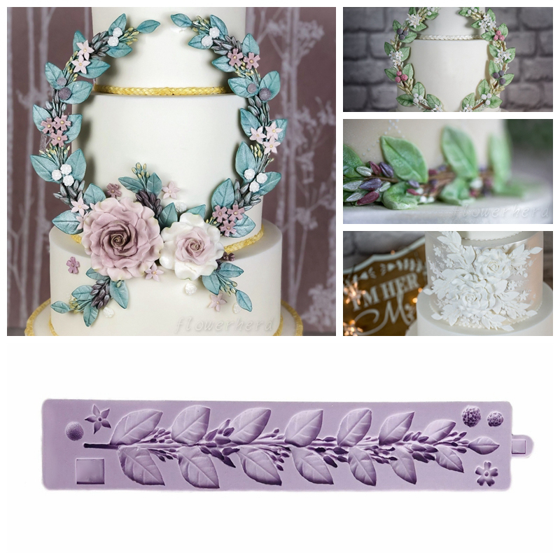 Sugar Twine Silicone Mold Leaves <font><b>Cake</b></font> <font><b>Decorating</b></font> <font><b>Tools</b></font> Fondant <font><b>Cake</b></font> Mold Leaf Rattan <font><b>Flower</b></font> Vine Borders Foliage Decoration image