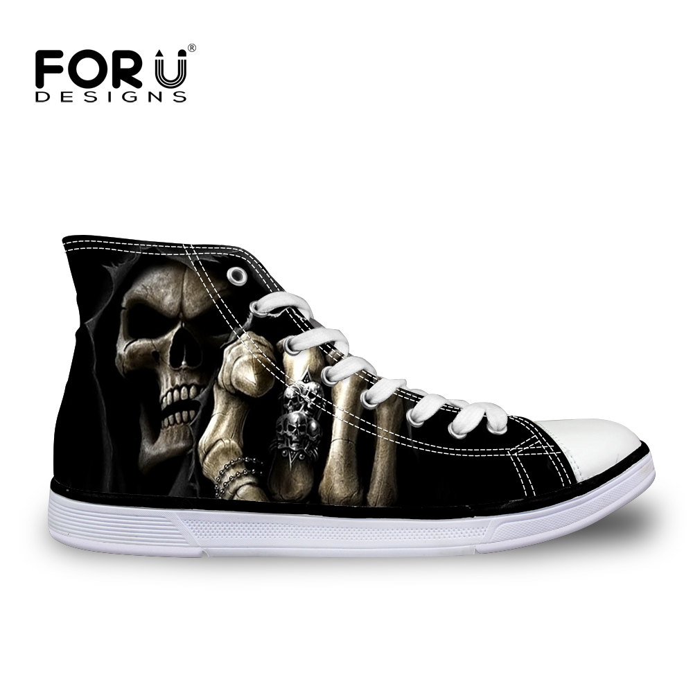 FORUDESIGNS Flats Vulcanized Shoes for Men Cool Skull Fashion Men's Casual Canvas Shoes for Teenage Boys Leisure Summer Sneakers forudesigns women fashion high top flats shoes cool skull design female height increasing platform shoes for teenage girls shoes