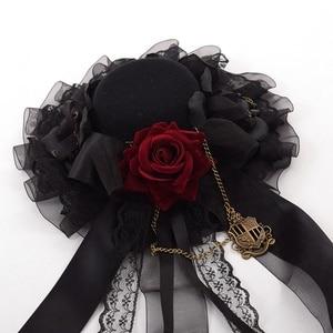 Image 5 - Noir Mini haut chapeau pince à cheveux mignon gothique Lolita filles Rose coiffe de tête cheveux accessoires carnaval fête de mariage carnaval