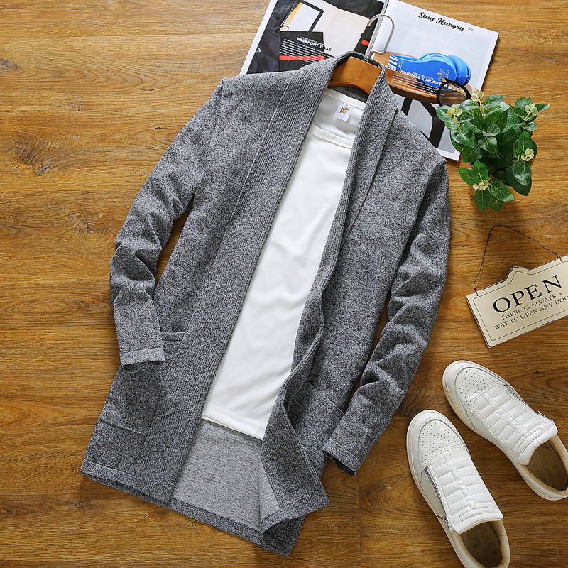 weaters Two Pockets Thin Wool Long Cardigan For Men Soft Comfortable Knit Coat Man Slim Fit
