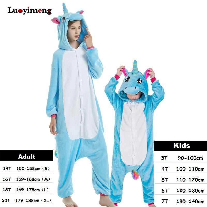Зимняя Фланелевая пижама Кигуруми для женщин и детей; Пижама с единорогом для мальчиков и девочек; одежда для сна для взрослых с изображением животных; комбинезон с пандой; детская пижама