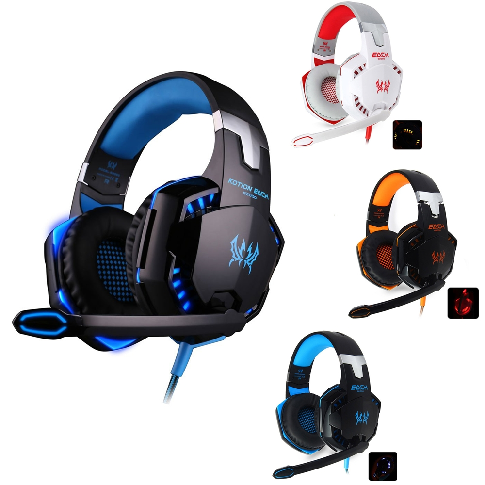 Computer Stereo Gaming Headphones Kotion EACH G2000 Best casque Deep Bass Game Earphone Headset with Mic LED Light for PC Gamer gaming headphone headphones headset deep bass stereo with mic adjustable 3 5mm wired led for computer laptop gamer earphone