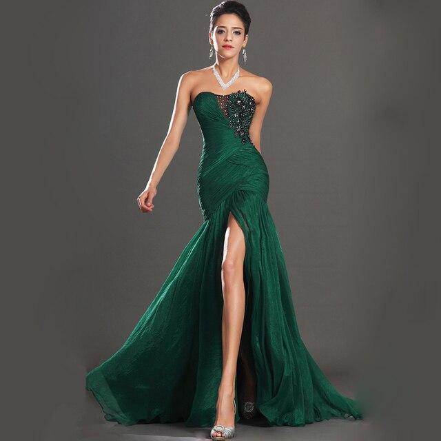 47f173f8e 2016 de Color Verde Oscuro de Gasa Sexy Abendkleider Sirena Vestidos de  Noche de Alta Hendidura
