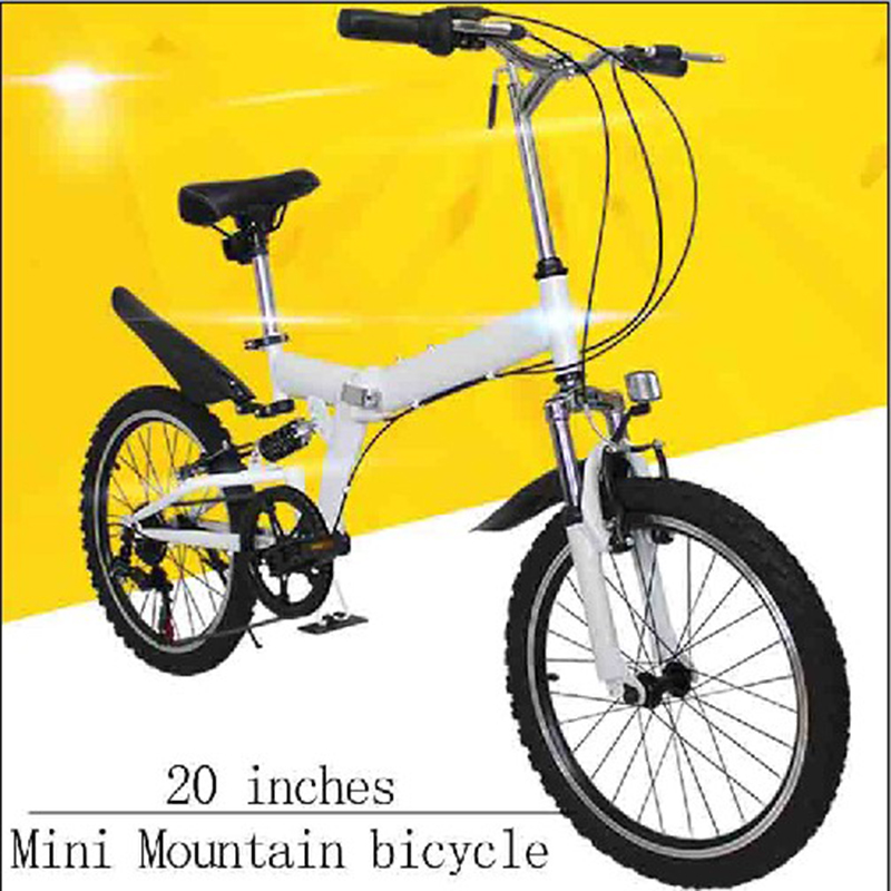 Mini Mountain Bicycle High Carbon Steel Frame Folding Bike Double V Brake/Bilateral Folding Pedal/Six Speed Rear Derailleur