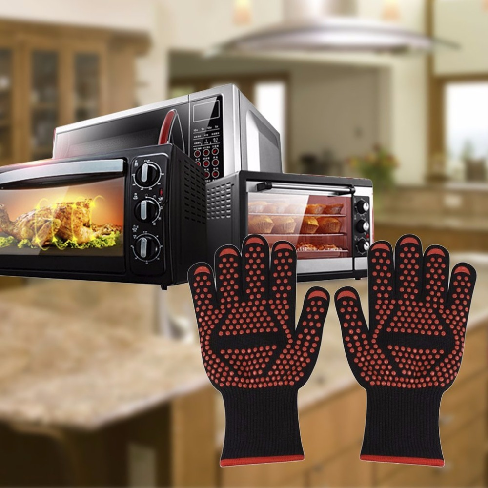 1 Pair Microwave Oven Gloves High Temperature Resistance Non-slip Oven Safety Heat Insulation Kitchen Cooking Grilling Gloves leshp 1pcs microwave oven gloves high temperature resistance non slip oven mitts heat insulation kitchen cooking grilling gloves