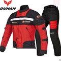 DUHAN motocicleta Jaqueta chaqueta y pantalones para las carreras de Motocross Ropa a prueba de Viento Impermeable con Forro de Algodón Desmontable Protecter