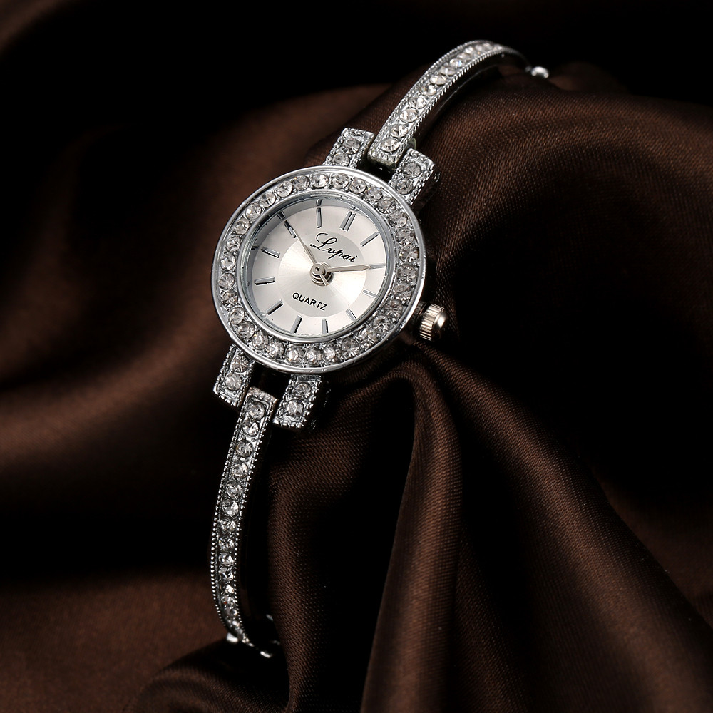 LVPAI Brand Fashion Women Ladies Unisex Stainless Steel Rhinestone Watch Quartz Dress Watch Erkek Kol Saati Best Gift