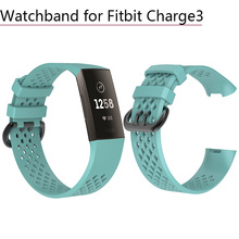 Soft Silicone Sport Band Bracelet Watchband Wrist Strap Watch with Metal Buckle Smart for Fitbit Charge 3