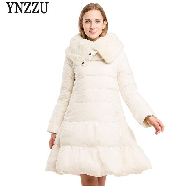 Новый дизайн 2018, Женский пуловер, пуховик, элегантные белые длинные пуховые пальто с натуральным кроличьим меховым воротником, теплая верхняя одежда AO615
