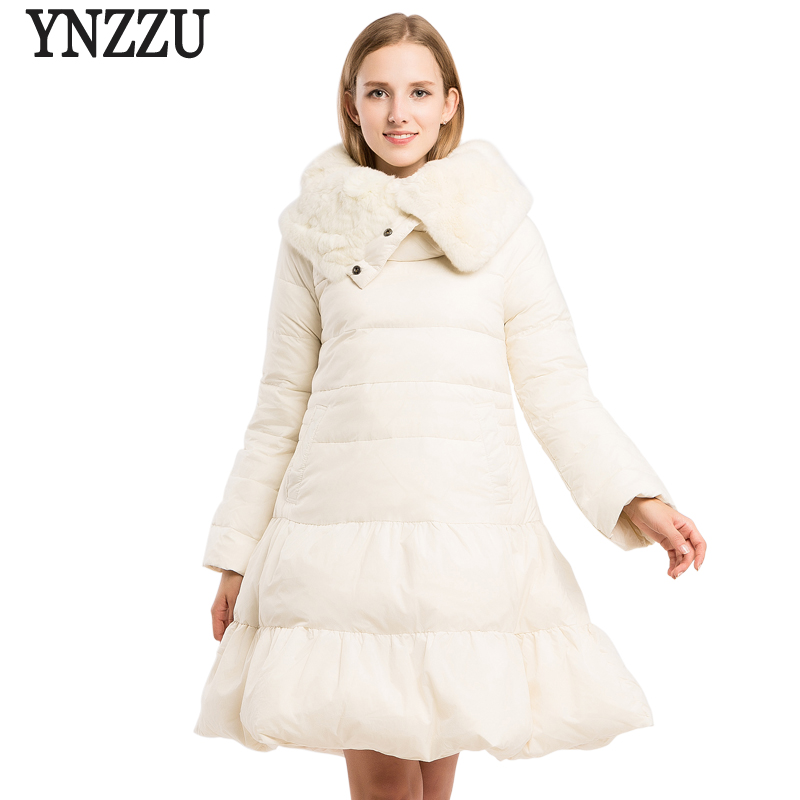 New Design 2018 Women's Pullover   Down   Jacket Elegant White Long Duck   Down     Coats   with Real Rabbit Fur Collar Warm Outwears AO615