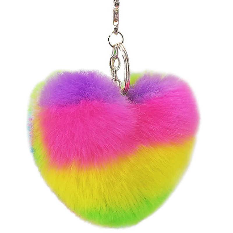 Rainbow Heart Chaveiros Keychain Do Luxuoso Do Falso Pele De Coelho Pompons Decorativos Pingente Para As Mulheres Saco de Acessórios Do Carro Chaveiro