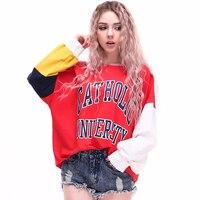 Jellpe 2017 Fashion Sweatshirt Girl Autumn Winter Loose Hit Color Plus Velvet Warm Sweatshirt Thicken Oversized