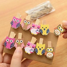 Best Sale Great 10pcs/bag Mini Owl Wooden Photo Paper Peg Pin Clothes Craft Postcard Clips Tools(China)