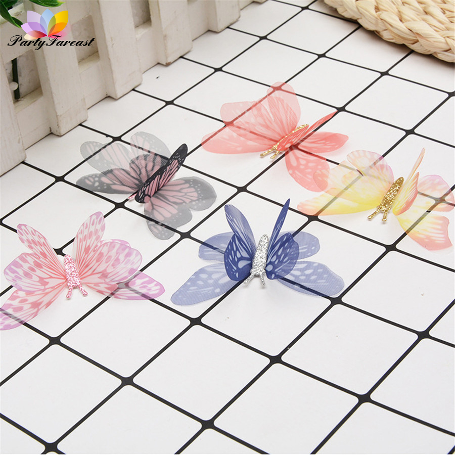 10pc Double-Layer Tulle Colorful Butterfly For Diy Apparel Decoration Lace Sewing Fabric Clothing Accessories Diy Craft Supplies
