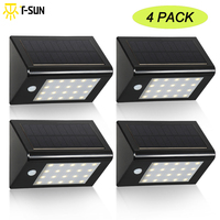 4 PACK LED Solar Light 20 LEDs Waterproof Sensor Light Outdoor Light Path Corridor Wall Lamp