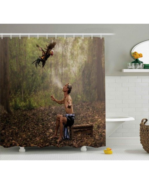Jungle Shower Curtain Asian Forest Birds Eco Print For Bathroom Waterproof  And Mildew Resistant Set Hooks