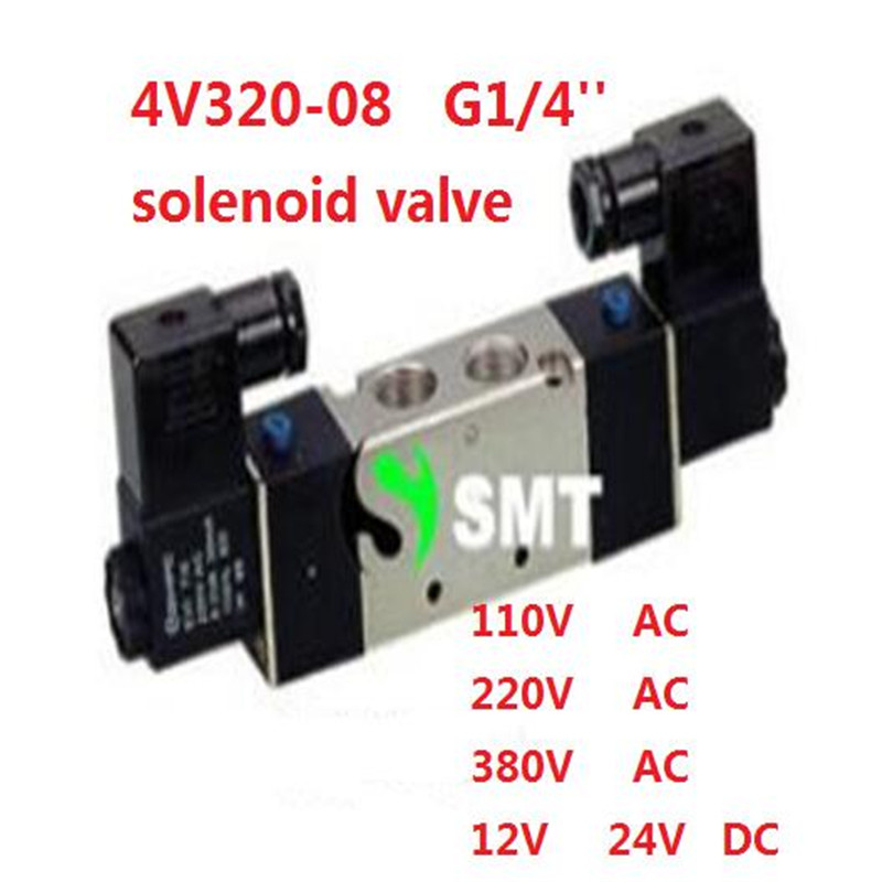 ФОТО Free shipping air solenoid valve 4V320-08 Double coil Port 1/4