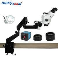 Luckyzoom Brand 3.5X-90X Trinocular Articulating Arm Pillar Clamp 144-LED Stereo Zoom Microscope 14MP HDMI microscopio Camera