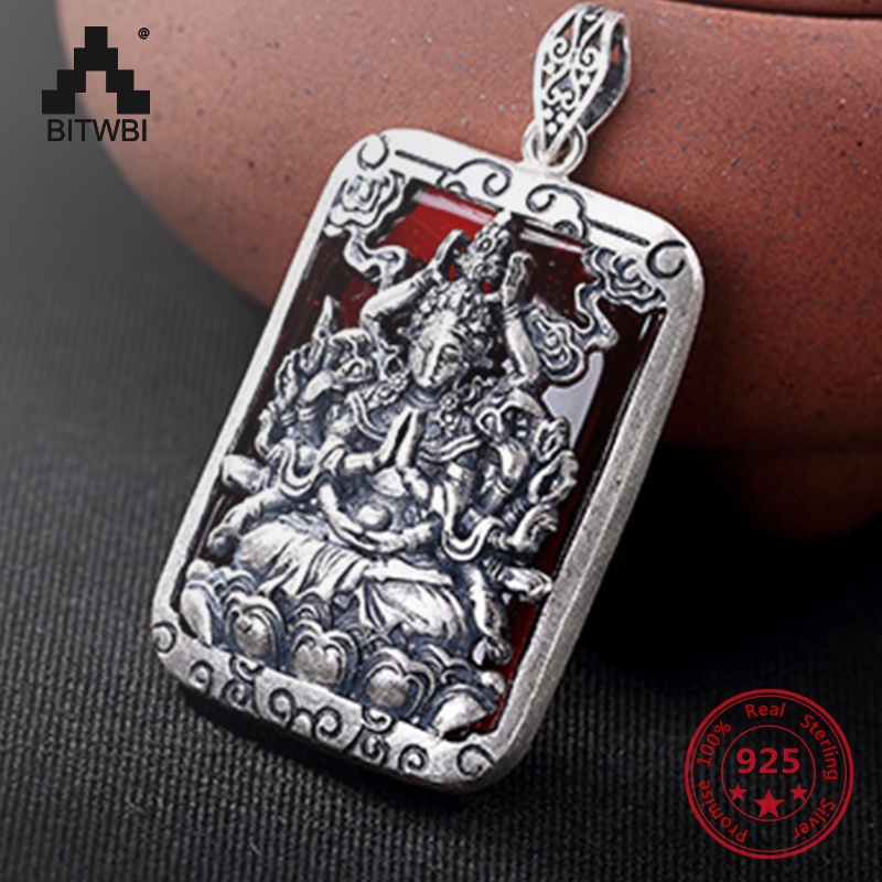 S925 Sliver Buddha Jade Inlaid Men and Women Pendant Necklace Different Colors Pendant Retro Fashion sliver Pendant Jewelry s925 sterling sliver animal pendant for women personality auspicious carp tassel fish shape pendant necklace best jewelry gift