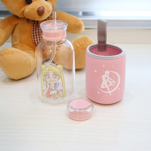 450ML Glass Bottle With lid With Straw Drinking Water Bottles Lovely Cartoon Portable Hiking Camping My Bottle Children Kids keith my bottle 450ml titanium double wall mug with lid water glass no odor anti acid drinkware cup camping hiking 152g ti3340