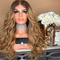 Русый Ombre человеческих волос Синтетические волосы на кружеве парики для черный Для женщин Remy 4/27 темные корни 2 тона свободная волна человече