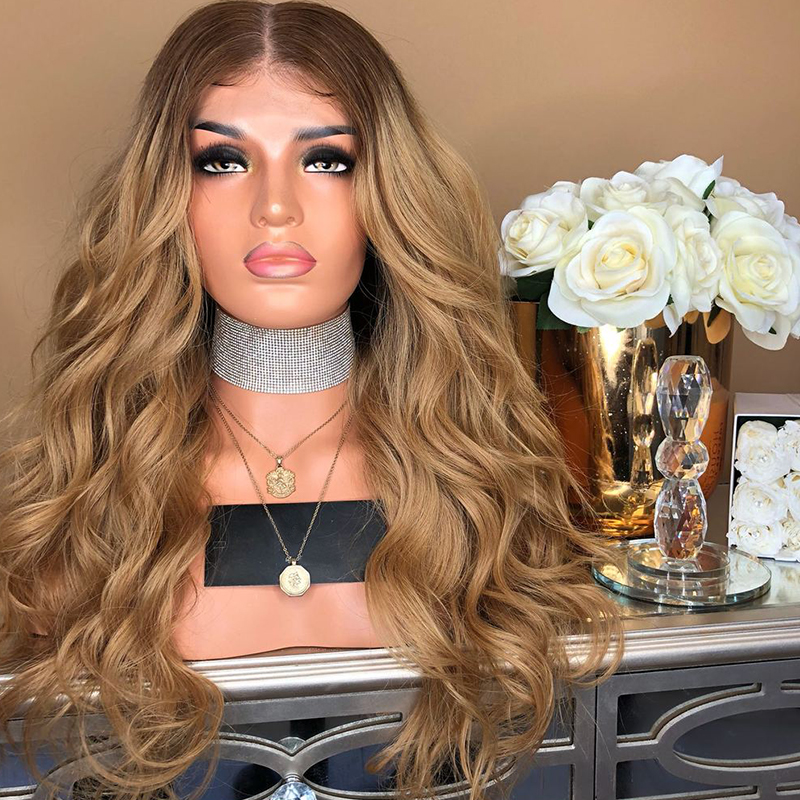 Blonde Ombre de Cheveux Humains Avant de Lacet Perruques Pour Les Femmes Noires Remy 4/27 Foncé Racines 2 Ton Lâche Vague de Cheveux Humains dentelle Perruque Bébé Eseewigs