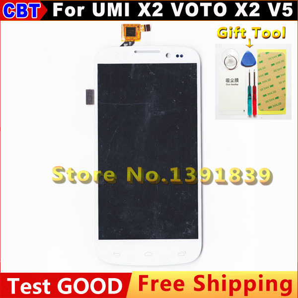 VOTO X2 LCD Screen Digitizer + Touch Screen For UMI X2 VOTO X2 V5 LCD Screen White + Free Shipping
