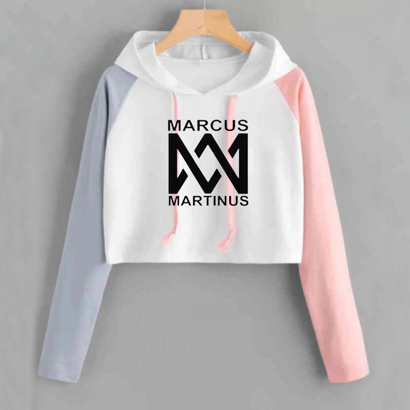 Crop Hoodie Women Marcus And Martinus Sweatshirt Casual Pink Short Tracksuit Long Sleeve Spring Autumn Ladies Sweat Femme