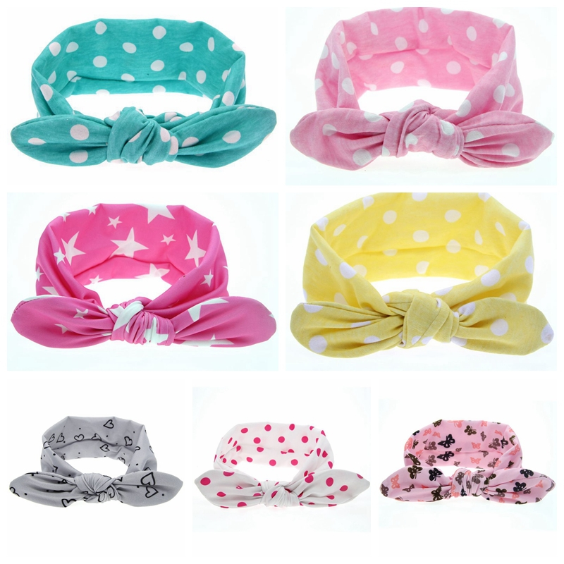 Hot! Children girls headbands Baby cute rabbit ear headwraps Girls fashion hair accessories Kids bowknot hair bands 1pc HB456