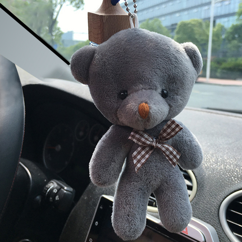 Car-styling12CM Mini Teddy Bear Plush Stuffed Toy Doll Pendant Accessory Wedding Gifts Keychain Plush Toys For Car Ornaments