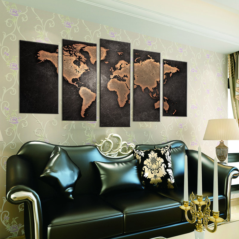 5 pcsset framed abstract black world map wall art modern global 5 pcsset framed abstract black world map wall art modern global world map canvas print painting for living room decor in painting calligraphy from home gumiabroncs Images