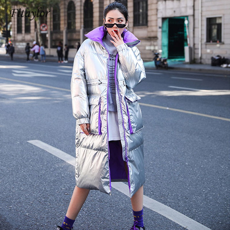 Fitaylor Winter Silver Black Down Jacket Women Turtleneck Collar White Duck Down Parkas Female Thicken Warm Coat Snow Outwear