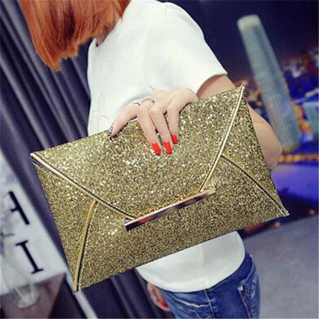 Nuevo paquete de mano caliente mujeres moda lentejuelas sobre bolsa personalidad embrague monedero de cuero de calidad superior