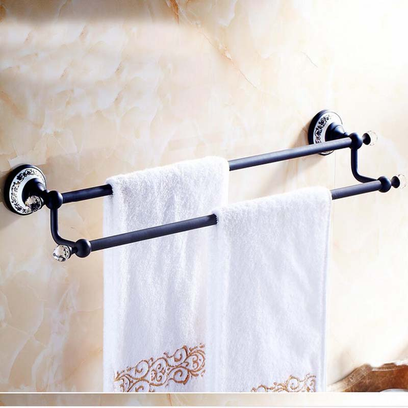 Modern Oil Rubbed Bronze Wall Mount Bathroom Towel Rack Dual Towel Bar Crystal цена